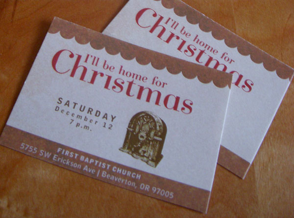 One of three ticket designs. The bands of color at the top and bottom are different for each performance. The other two colors are red - like the invite, and chocolate brown - like the radio.